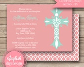 Printable Ornate Cross Baptism Invitation, Cross Baptism Invite, Baptism Invitation, Baptism Invite - Ornate Cross in Coral & Aqua