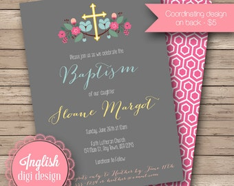 Floral Wreath Baptism Invitation, Printable Wreath Baptism Invite, Floral Baptism Invitation - Floral Wreath in Gray, Pink, Blue & Yellow
