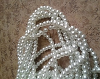 White Pearls Glass Pearls 4mm Glass Pearls White Glass Pearls 4mm Beads BULK Beads Wholesale Beads 216 pieces Double Strand