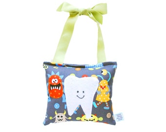 Tooth Fairy Pillow Boys Tooth Fairy Personalized Tooth Fairy Gift for Boys Personalized Tooth Fairy Pouch in Silly Monsters Alien Print