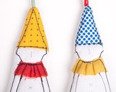 Christmas Fabric Ornament  - Set of 2 holiday dwarf /clown in pointy hat ,Dressed in shades of Red Yellow Blue . handmade ornament