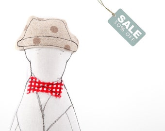 SALE - Soft sculpture man doll - Gentleman doll in natural dotted canvas hat, red plaid bow tie & beige striped linen pants , handmade doll