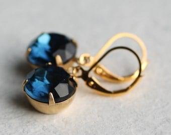 Navy Blue Vintage Earrings ... French Navy Blue Vintage Jewel