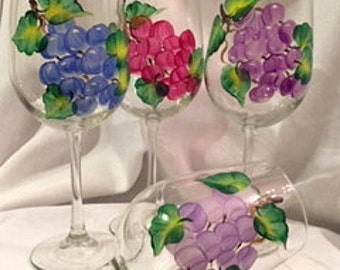 Hand-painted Wine Glasses - grapevine - set of 4