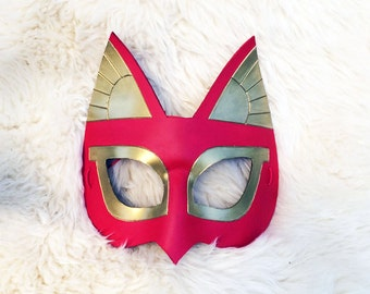 Red and Gold Bast Egyptian Cat leather costume mask