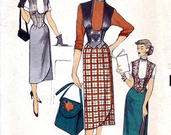 Advance 5935 Vintage 50s Misses' Reversible Waistcoat and Reversible Skirt Sewing Pattern - Size 14 - Bust 32