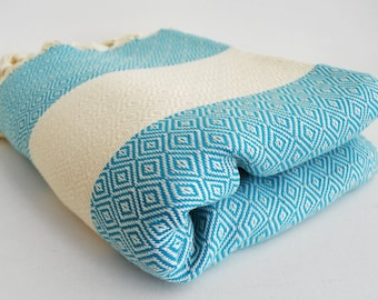 SALE 50 OFF/ Diamond Blanket / Turquoise / Bedcover, Beach blanket, Sofa throw, Traditional, Tablecloth