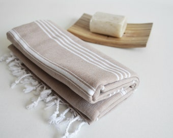 NEW / SALE 50 OFF/ Turkish Beach Bath Towel / Classic Peshtemal / Beige / Wedding Gift, Spa, Swim, Pool Towels and Pareo