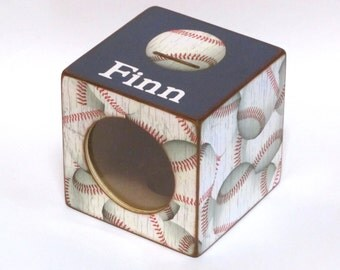 Piggy Bank Wood Coin Bank Box with Window for Kids - Baseball with Navy - Sports - Personalized