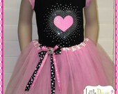 CHILD (Black/bubblegum pink) - heart applique Tutu Valentine's Outfit