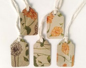 """5 Small Gift Tags  - 1.5"""" x 15/16"""" All Recycled Materials Greens and Yellows"""