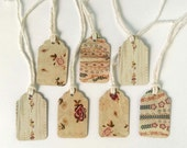 """7 Small Gift Tags  - 1.5"""" x 15/16"""" All Recycled Materials - Emboidery, Floral, Vintage, Antique Style"""
