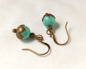 Turquoise Colored Magnesite Gemstone Earrings With Antiqued Brass, Bronze Accents