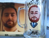 Four Hand Painted Caricature Portrait Groomsman Wedding  Beer Glass Bride Bridesmaid Wine Beer Personalized