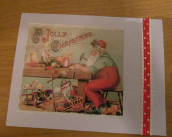 Santa Claus Victorian-style card, upcycle