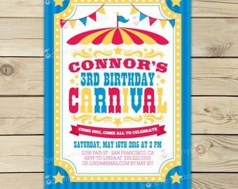 Carnival Birthday Invitation Printable - Carnival Invitation - Circus Invitation - Circus Birthday Party - Kids Birthday Party Circus Flyer