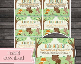 Woodland Baby Shower Book Request Card Printable - Instant Download - Forest Animals Baby Shower Game - Please Bring A Book - Insert Card