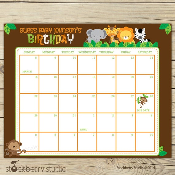 Guess the Due Date Calendar Printable - Birthday Prediction Calendar ...