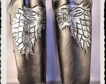 Black and silver leather bracers - Stark - Game of Thrones