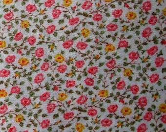 Cream Floral Print Fabric One Half Yard