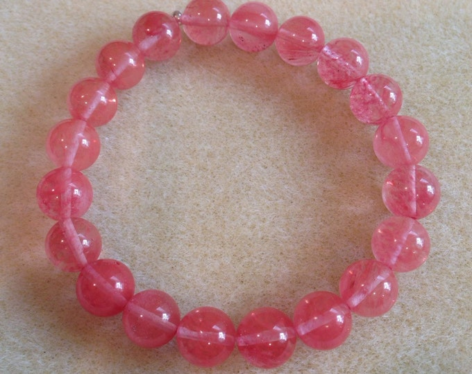Cherry Quartz 10mm Round Bead Stretch Bracelet with Sterling Silver Accent - Strawberry Cherry Watermelon Pink Grapefruit Color!
