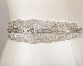 Gatsby Silver Beaded Belt