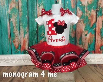 Birthday Minnie Mouse Tutu outfit, 1st Birthday Minnie outfit