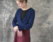 1940s Navy Rayon Blouse size S