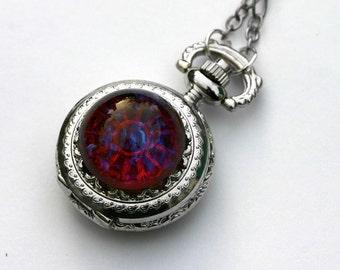 Dragon Breath Pocket Watch - Fire Opal