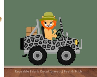 Lion Wall Decal, Leopard Print Room Decor, Safari Car Sticker, Baby Nursery, Safari Theme Kid Playroom, Transportation Jeep, Jungle Wall Art