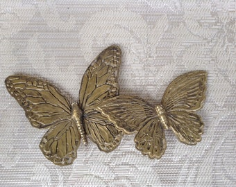 Vintage Homco Butterflies, Set of 2, Gold colored, Signed, Made in USA