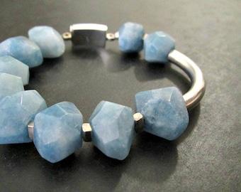 Aquamarine Nugget Bracelet   March Birthstone   Asymmetrical Bracelet   Sterling Silver Jewelry   Gemstone Bracelet   Chunky Bracelet