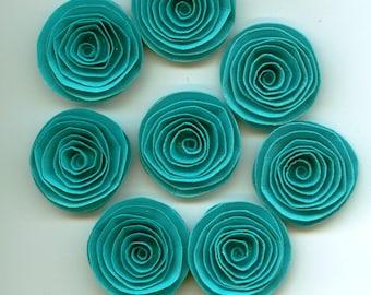 Aqua Blue Handmade Spiral Paper Flowers