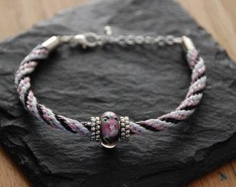 Kumihimo Bracelet ( Black , Pink & White)