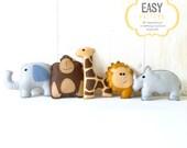 Safari Stuffed Animal Sewing Patterns, Felt Jungle Plushies, Elephant Giraffe Lion Rhino Gorilla Softies, Nursery Decor