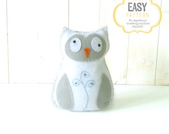 Owl Sewing Pattern, Owl Stuffed Animal Hand Sewing Pattern, Felt Owl Pattern, Owl Plushie, Owl Softie, Instant Download PDF