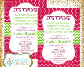 Elegant Twin Baby Shower Invitation, Twin Girls Invite, Baby Shower Invitation,  Digital Invite,