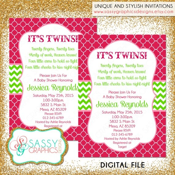 Twin baby shower invitation twin girls invite baby shower il570xn filmwisefo Choice Image