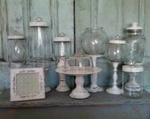 15-Piece Wedding Apothecary / Pedestal Candy Jars Set w/Matching Frame & Cupcake Stand *Distressed * White * One-of-a-Kind!