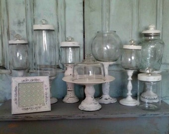 SOLD***15-Piece Wedding Apothecary / Pedestal Candy Jars Set w/Matching Frame & Cupcake Stand *Distressed * White * One-of-a-Kind!