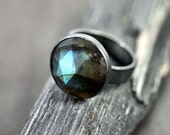 Labradorite Ring, Blue Flash Labradorite Oxidized Recycled Argentium Sterling Silver Ring - US Size 8.5