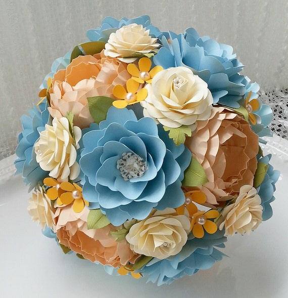 Paper Bouquet - Paper Flower Bouquet - Wedding Bouquet - Shades of Blue and Peach with a Splash of Orange - Custom Made - Any Color