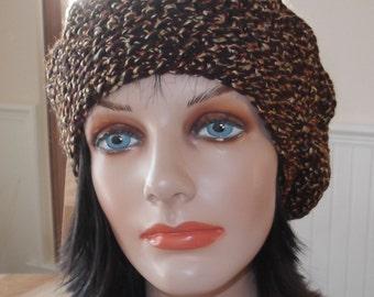 Slouchy Beanie Women Brown Crochet Slouchy Hat Brown Tam Brown Beret Womens Brown Slouchy Hat