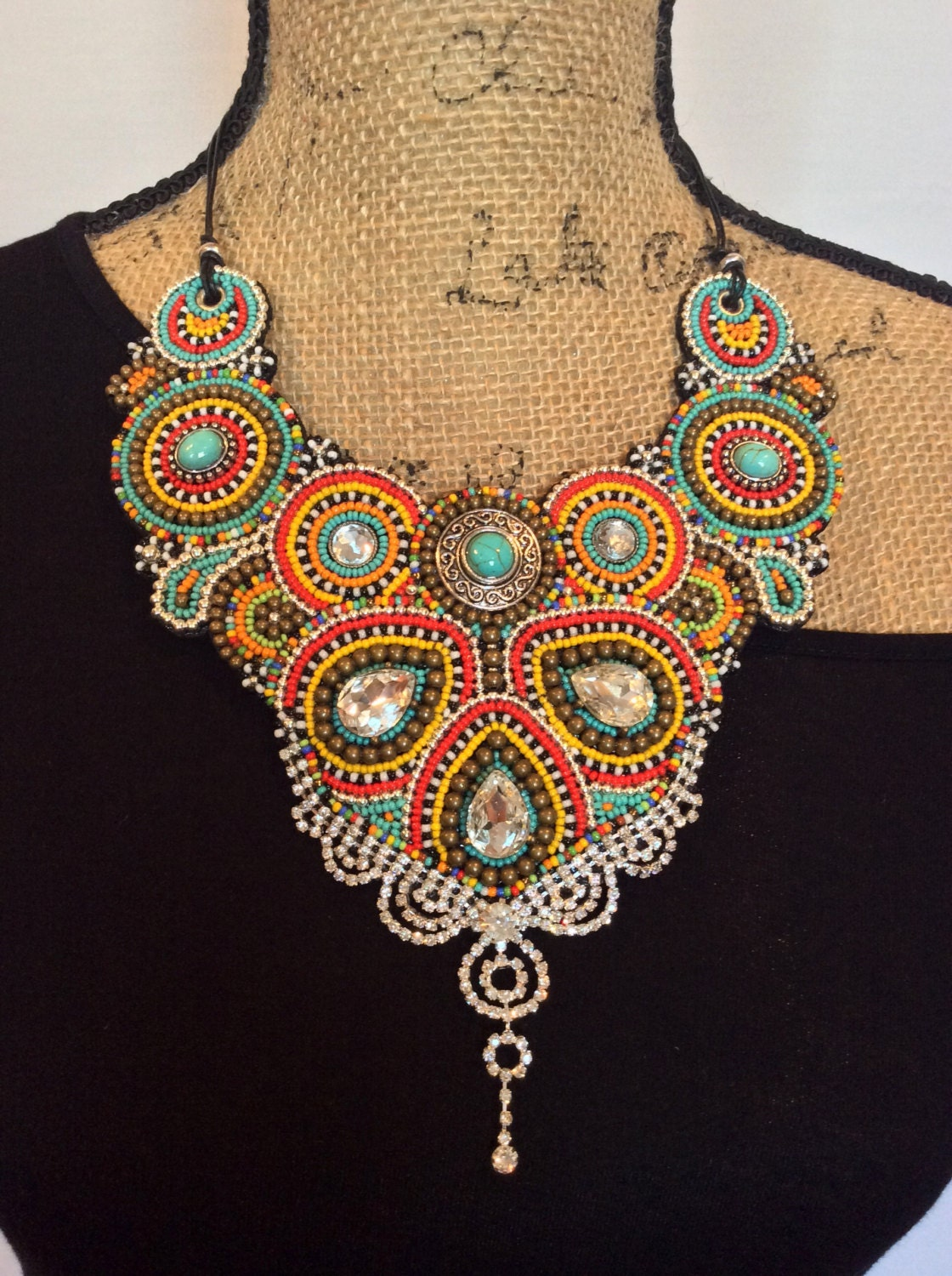 Bead embroidery bib necklace statement