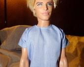 Lite blue short sleeved shirt for Male Fashion Dolls - kdc49