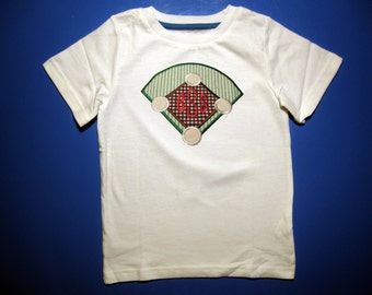 Baby one piece or  toddler tshirt - Embroidery and appliqued boys monogrammed baseball diamond