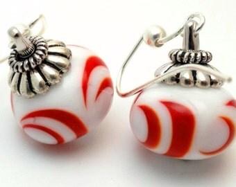 Lampwork Earrings, Art Beads,Summer Earrings, Classic Red and White, Art Bead Earrings, Emerald City Glass, Marcie Page, Artisan Earrings