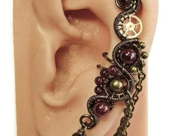 Gemstone & Swarovski Crystal Large Bronze Steampunk Ear Cuff - Steampunk Jewelry, choice of stone/color