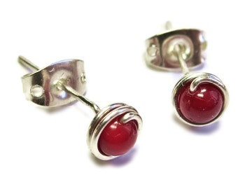 Red Coral and Silver Wire-Wrapped Stud Post Earrings
