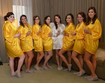 Bridesmaid Robes Yellow Gold wedding robes bridesmaid silk robe dressing gown personalized silk robe kimono robes bridal robe flower girl